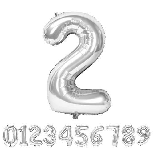 Globo Número Gigante Metalizado – Numeros Gigantes y Metalizados 0 1 2 3 4 5 6 7 8 9, 30 40 50 - Globos para Fiesta y Decoración – Globos de Cumpleaños Boda y Aniversario (Plata, 2)