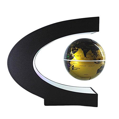 Globos Terráqueos - Globo Flotante De Levitación Magnética Bola con LED C forma base Giratoria Planeta Tierra Globo para Decoración de Escritorio Regalo de Cumpleaños