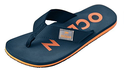 MADSea Damen Herren Zehenstegpantolette Ocean Zehentrenner Sandale dunkelblau orange, Farbe:dunkelblau, Größe:43 EU
