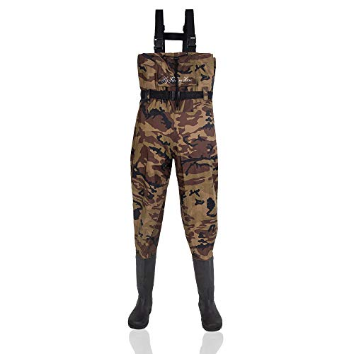 FLY FISHING HERO Chest Waders for Men with Boots Hunting Waders Fishing Boots Neoprene Waders for Women Free Hangers Included (Camouflage, 7)