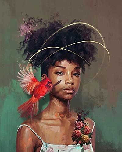 Ettfvl Arte de Retrato de niña Africana de pájaro Rojo﹣Kit de Pintura de Diamante 5Dkits de Arte de Cristal paradecoración de la Pared del hogar﹣40x50cm(Sin Marco)