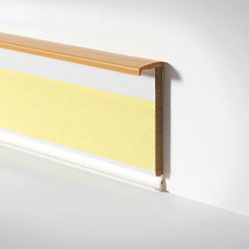 BODENMEISTER BM78200 Kunststoff-Leiste Sockelleiste Fussleiste für Teppichboden mit Kabelkanal 255cm x 57mm, Buche, 3 Stück