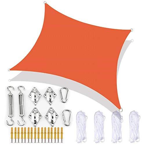 XRDSHY Sonnensegel Rechteckig Sonnenschutz Segel Wasserdicht UV-Schutz Für Garten Pavillon Patio,Orange-2X2m