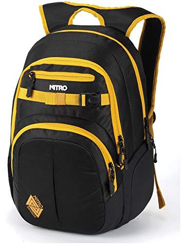 Nitro Chase Rucksack, Schulrucksack mit Organizer, Schoolbag, Daypack mit 17 Zoll Laptopfach, Golden Black, 35L