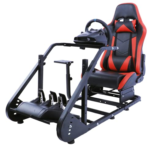 Minneer Racing Steering Simulator Cockpit Red with TV Bracket Mounting Holes Racing Wheel Stand Fits Logitech G25, G27, G29  Compatible with Xbox One, Playstation, PC Platforms with Capacity 220LBS