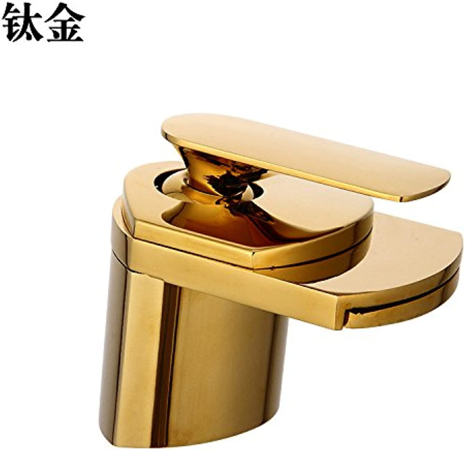 Oudan Sink Taps European style copper Single hole Wash your facePots Hot and cold Golden Brushed ?Seated Janitorial & Sanitation Supplies