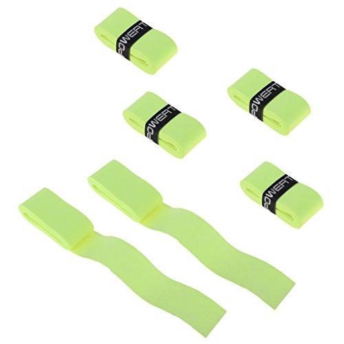 NON 6 Unidades de Cintas Protectoras para Agarre de Raqueta de Tenis Bádminton Hecho de Material PU - Fluo Yellow