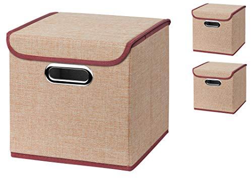 Stick&Shine Lot de 3 boîtes de Rangement Pliable en Lin avec Couvercle 25 x 25 x 25 cm