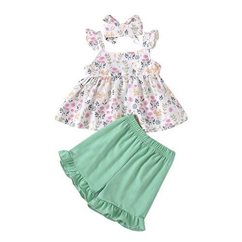 Julhold Babykleidung Set Baby Mädchen Kleidung Outfit 3-teiliges Ärmelloses Bowknot Blume Gedruckt Top + Hose + Stirnband Für Kinder Sommer Bekleidung Set Größe 80-110(Grün,80)