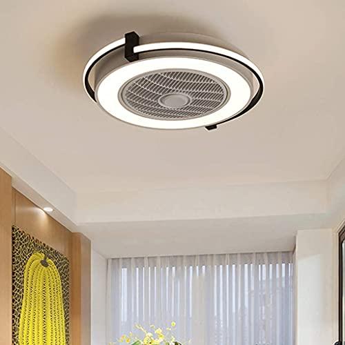 Fan LED Luz de techo Creativo Invisible Fans de techo con iluminación, Control remoto Dimmable Ultra-Tranquilo Can Chandelier, Lámpara de ventilador de dormitorio (Color : Default)