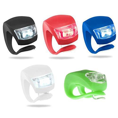 Vivi 5er Pack Fahrradleuchte vorne und hinten Silikon LED Fahrradleuchten Set Mountainbike Scheinwerfer Wasserdichtes Rücklicht für Sicherheit (5 zufällige Farben)