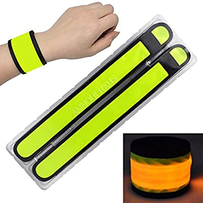 LED Slap Bracelets Light Up Armbands Glow in The Dark Fashing Wristbands Wrist Bands Safety Reflective Running Gear Lights for Runners Walkers Walking Joggers Jogging, Fits Men Women Kids (2-Yellow)