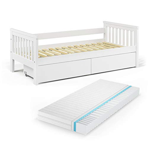 VitaliSpa Tagesbett Luna Kinderbett 90x200cm Kojenbett Jugendbett Bettgestell (Bett + Schubladen + Matratze)