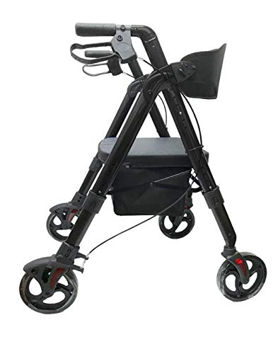 Deluxe Bariatric Rollator Walker; Heavy Duty with Large Padded Seat