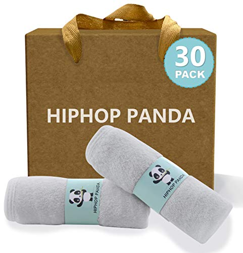 HIPHOP PANDA Bamboo Baby Washcloths,30 Pack (Grey) - 2 Layer Ultra Soft Absorbent Bamboo Towel - Natural Reusable Baby Wipes for Delicate Skin - Baby Registry as Shower