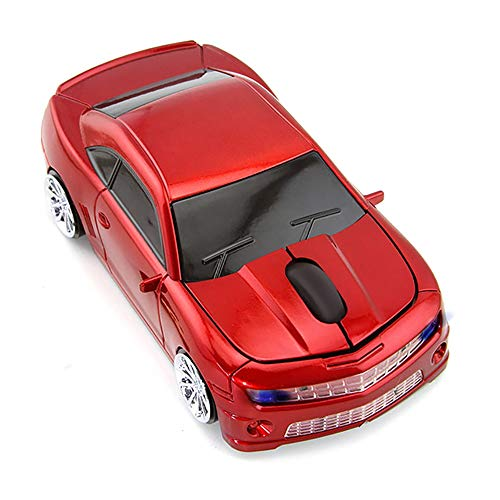 Wireless Car Mouse, 2.4G Wireless Race Car Shaped Mouse Cool Optical Computer Mouse Novelty Cordless Mice, 1600 DPI for PC Desktop Mac Laptop (Red)