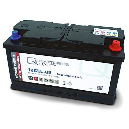 Q-Batteries 12GEL-65 aandrijvingsaccu 12V 65Ah (5h), 73Ah (20h) onderhoudsvrije gelaccu VRLA