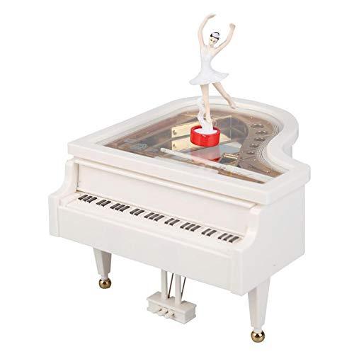 TZSHUQ Nieuwe Romantische Klassieke Piano Model Dansende Ballerina Muziek Box Hand Crank Muzikale Dozen Verjaardag Bruiloft Liefde Gift Home Decoratie Kleur: wit