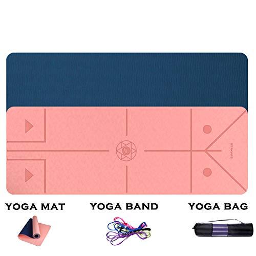 FitTrek Tappetino da Yoga Antiscivolo - Tappetino Fitness Palestra Pilates Addominali - Yoga Mat 183 x 66, Spessore 6mm o 8mm - Materassino Palestra in TPE - Tappeto Yoga Ginnastica
