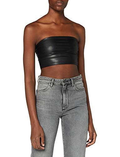 Miss Selfridge Black Pu Bandeau Top Camicia da Donna, Nero, 12