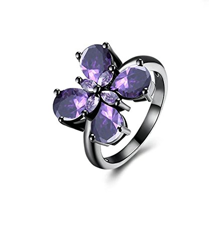 Bishilin Frauen Ringe Vergoldet Tropfen Zirkonia Schmetterling Lila Verlobung Ringe Ehering Schwarz Größe 54 (17.2)