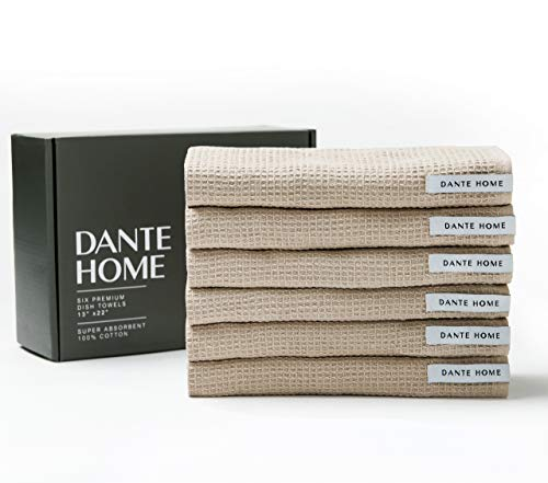 Dante Home 100% Natural Cotton Kitchen Towels Gift Set | Set of 6, 22'x13' Dish Towels | Ultra Absorbent & Machine Washable Kitchen Towels | Tea Towels for Pots, Pans, Cooking & Cleaning