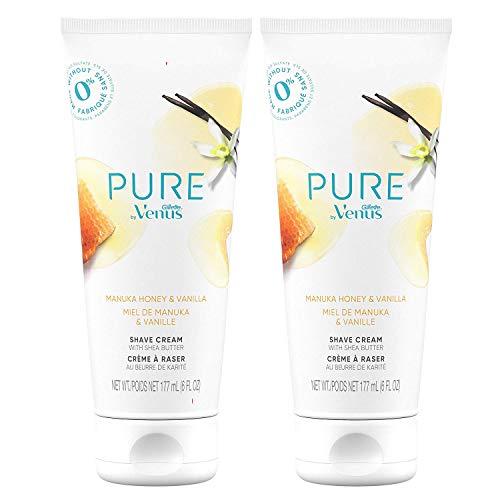 Pure by Gillette Venus Shaving Cream Manuka Honey and Vanilla, 6oz (Pack of 2)