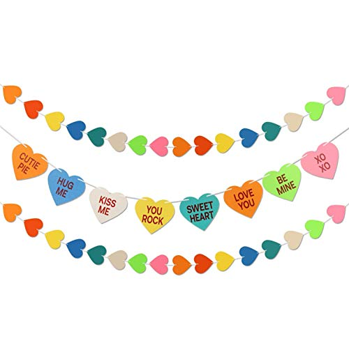 Valentine Conversation Hearts Decorations Banner -2 Valentines Heart Garland - Valentines Day Decoartions   Valentines Day Candy Banner   Heart Garland Decorations   Valentines Day Party Decorations