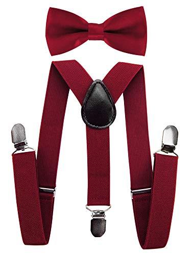 axy Hochwertige Kinder Hosenträger-Y Form mit Fliege- 3 Clips EXTRA STARK-Uni Farben (Weinrot)