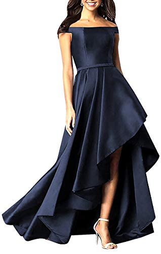 Homdor Women's High Low Off Shoulder Long Evening Prom Gowns 12 Navy Blue