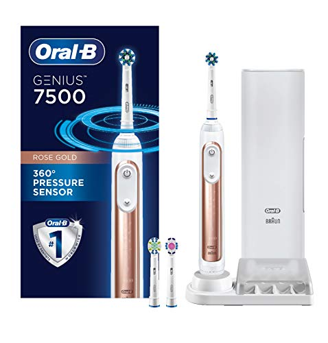 OralB 7500 Power Rechargeable Electric Toothbrush with Replacement Brush Heads and Travel Case Rose Gold