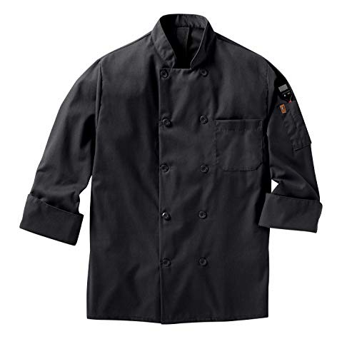 Red Kap mens Long Sleeve Ten Button With Mimix and Oilblok Chef Coat, Black, Large US