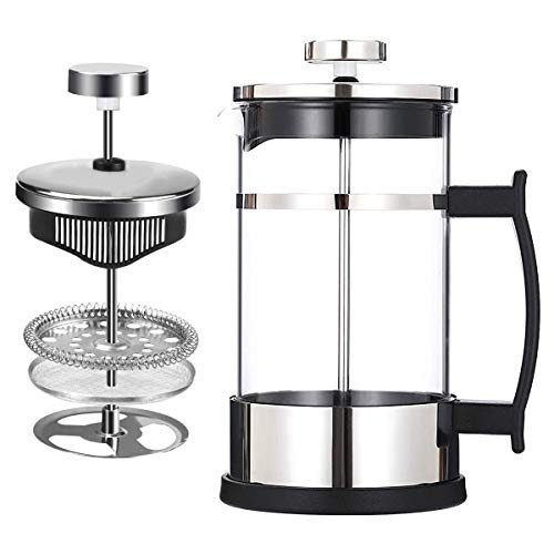French Press Coffee Pot and Teapot (600ml and 350ml),304 Stainless Steel Coffee Press with 3 Filters - No Residue - Heat Resistant Borosilicate Glass - Easy to Clean (350ml)