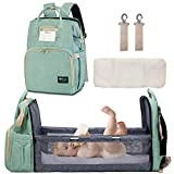 Happy Luoka Diaper Bag with Bassinet, Diaper Backpack Nappy Bag with Bed Cyan