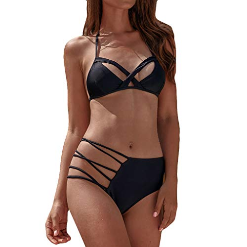 Hevoiok Damen Sexy Push Up Gepolsterter Bandge BH Badeanzug, Zweiteilig High Waist Bikini Set Einfach Badebekleidung Urlaub Bademode Strandmode (Schwarzer, L)