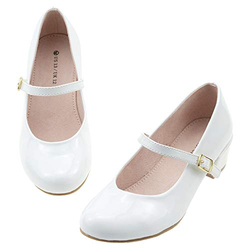 LseLom Girls White Dress Shoes Mary Jane Flats Princess Low Heel Hook and Loop Dance Shoes Party School Uniform Wedding Shoes Pearl US 3 for Big Girls