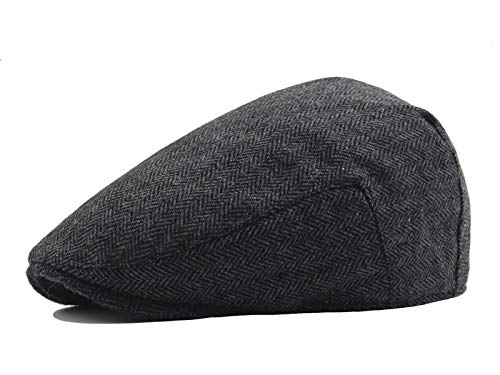 Celtic Circus Irish Tweed Ivy Cap | Beret Cabbie Flat Traveling Hat Black