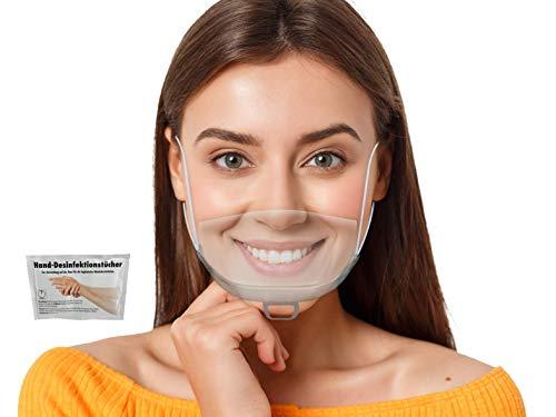 WIETRE® 5 Stück Gesichtsschutzschild Safety Kunststoff Transparent Visier Gesichtsschutz + 1 Gratis Handreinigungstuch | Anti-Fog Anti-Öl Splash Schutzvisier - Essen Hygiene Gesichtsschutzschirm