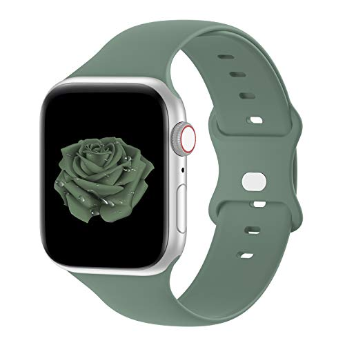 Bandiction Compatible with Apple Watch Series 3 38mm Series 5 40mm iWatch Bands 42mm 44mm, Soft Silicone Sport Replacement Strap Compatible for iWatch SE Series 6 5 4 3 2 1, Sport Edition,Pine Green