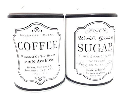 KASAVIVA bocaux shabby vintage Country sucre et Caffe 'en Métal à fermeture hermétique Crème et noir 16 x 11 cm. 2 pièces.