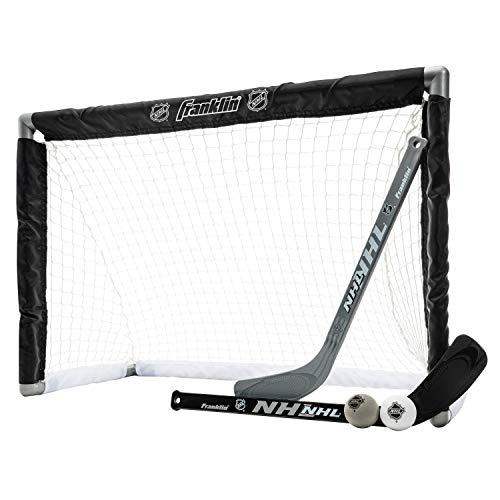 Franklin Sports NHL Youth Mini Hockey Goal + Stick Set - Kids Knee Hockey Goal, Sticks + Foam Mini Balls - (1) Goal, (2) Mini Sticks + (2) Balls Included
