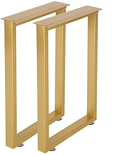 Gold Table Legs Desk Leg 28''Height 17.7''Wide Heavy Duty Dinning Table,Modern Coffee Table Legs,Square Tube Iron Bench Legs (Gold)