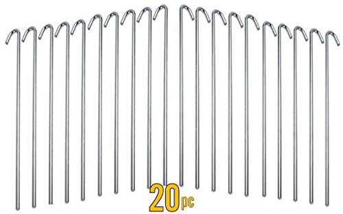 ALAZCO 20pc Galvanized Steel Tent Pegs - Garden Stakes -Heavy Duty - Rust Free