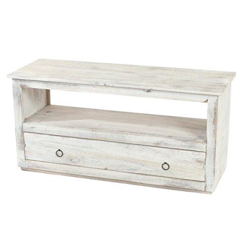 Table Basse de Salon, Meuble Bas, Commode, 1 tiroir, Shabby Chic, Vintage, Blanc