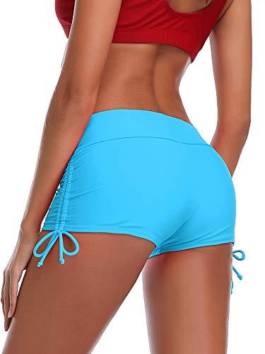 Summer Mae Damen Badeshorts Schnell Trocknendes Badehose Kurze Schwimmhose Strand Wassersport Board Shorts Hellblau M