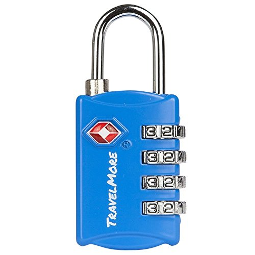 ARCE TSA Lock- 4 Digit Combination - Best TSA Approved Lock for Travel Safety and Security - Lock Alert, Heavy Duty Luggage Lock, TSA Suitcase Lock - Lock Safe Protection Blue