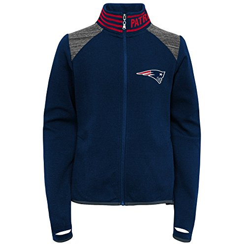 OuterStuff NFL Mädchen Aviator Jacke mit Reißverschluss, Mädchen, Aviator Full Zip Jacket, Dunkles Marineblau, Youth Large (14)