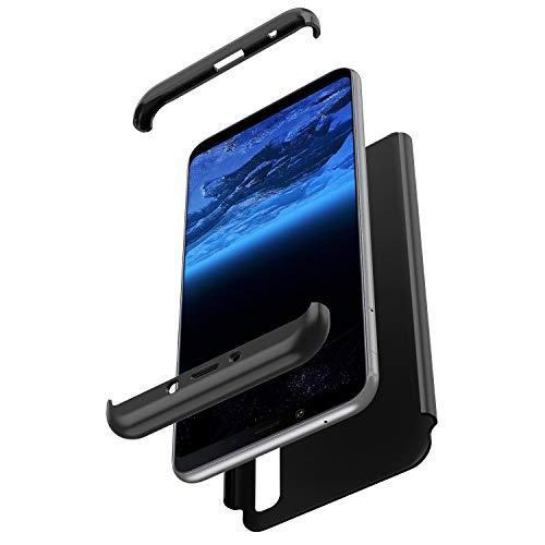 Herbests Kompatibel mit Samsung Galaxy A9 2018 Hülle 360° Rundumschutz Handyhülle Schutzhülle Komplettschutz Tasche Full Cover Front Back Double Beidseitiger Cover PC Hartschale,Schwarz
