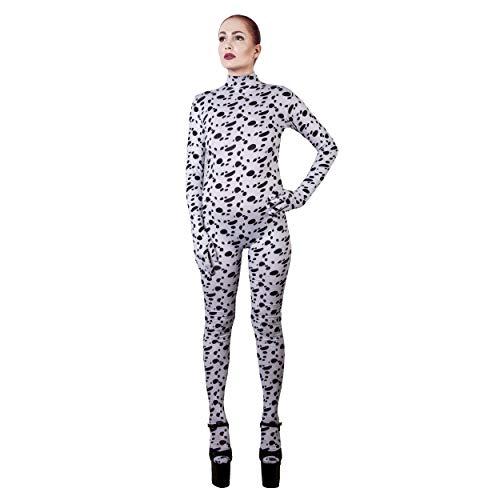 Rubberfashion Dalmatiner Catsuit, Animal Dog Print Overall mit Langen angearbeiteten Handschuhen und Schrittreißverschluss für Frauen und Herren Dalmatiner L