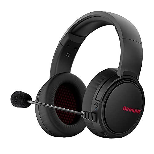 BINNUNE Gaming Headset Wireless mit Mikrofon Gamer kopfhörer Kabellose, 2,4GHz Verbindung und 3.5mm Klinke, 10m Reichweite, für PS4 PS5 PS6 PC Switch Xbox One